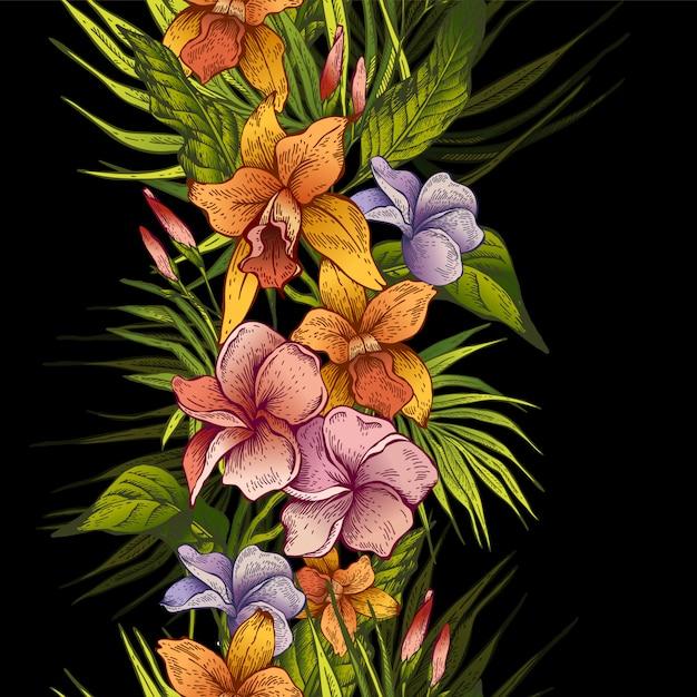 Векторные винтажные цветочные тропические бесшовные модели Premium векторы