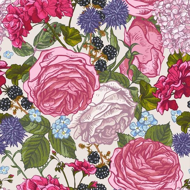 Цветочный фон с цветущими розами Premium векторы
