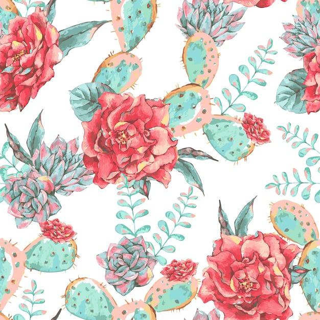 花が咲くとビンテージのシームレスパターン Premiumベクター