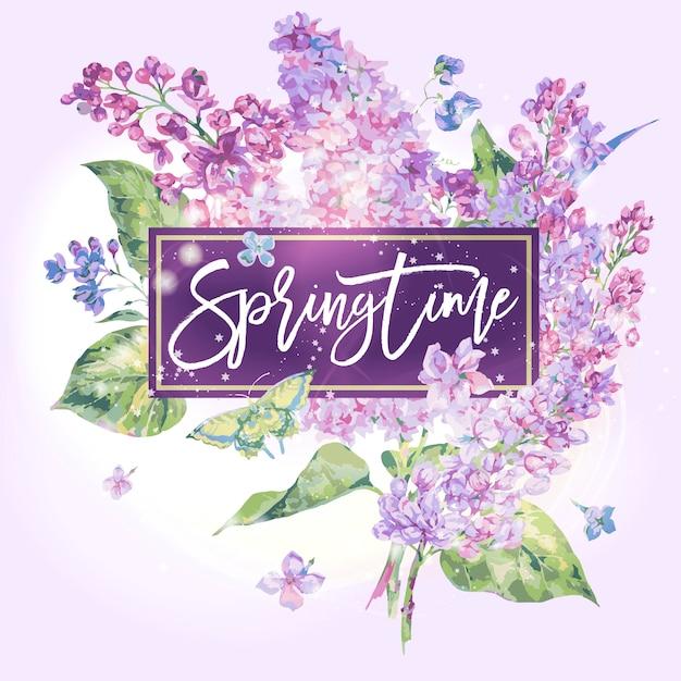 春。ライラックの花春グリーティングカード Premiumベクター