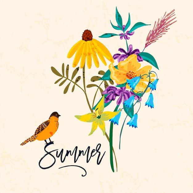 鳥と花。ビンテージ夏イラスト、 Premiumベクター