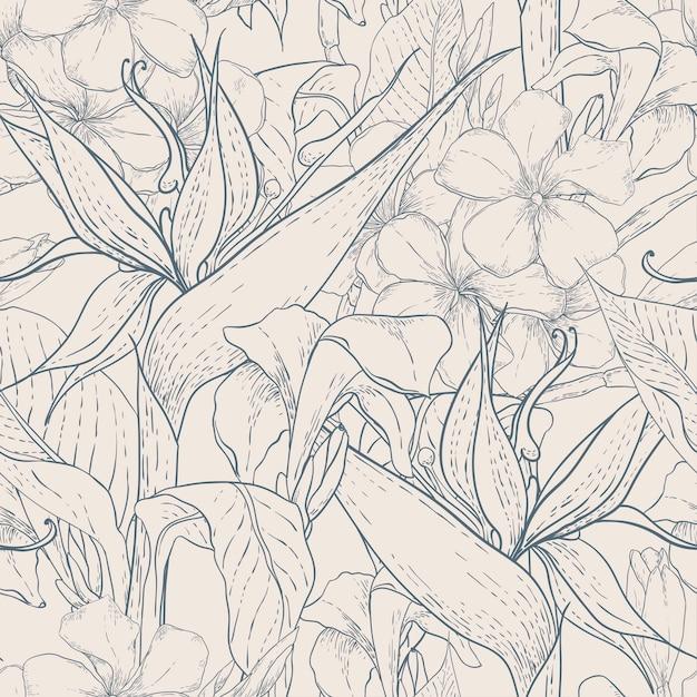 エキゾチックな花とモノクロのシームレスパターン Premiumベクター