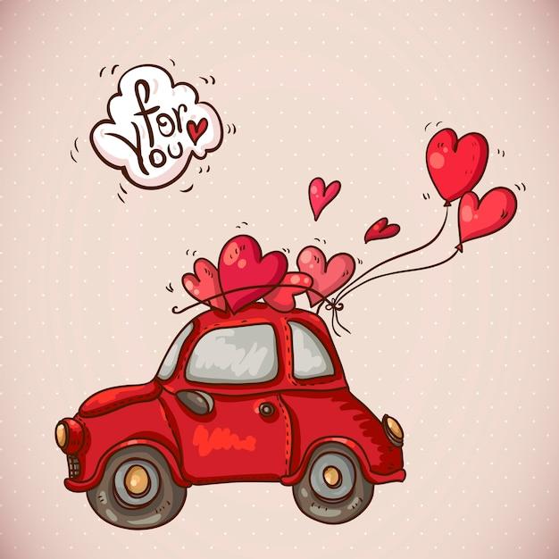 赤い車でカードバレンタインデーを落書き Premiumベクター