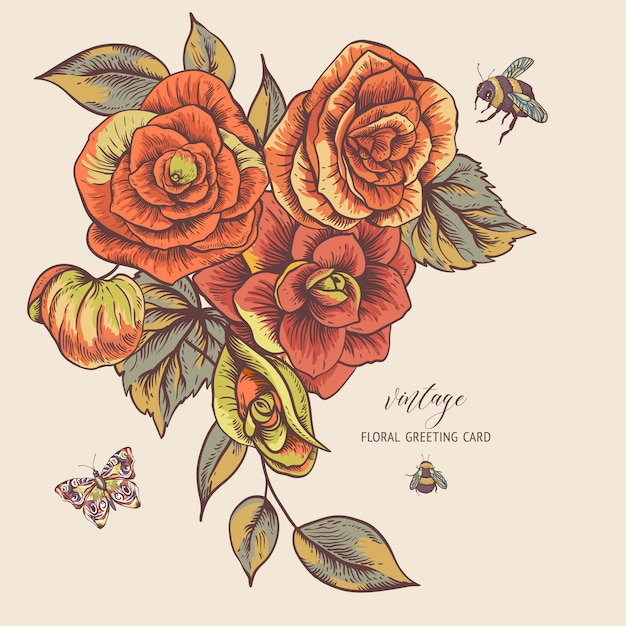 ベゴニアの花を持つヴィンテージ春グリーティングカード Premiumベクター