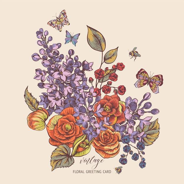 ベゴニア、ライラックの花が咲くとビンテージ春グリーティングカード Premiumベクター