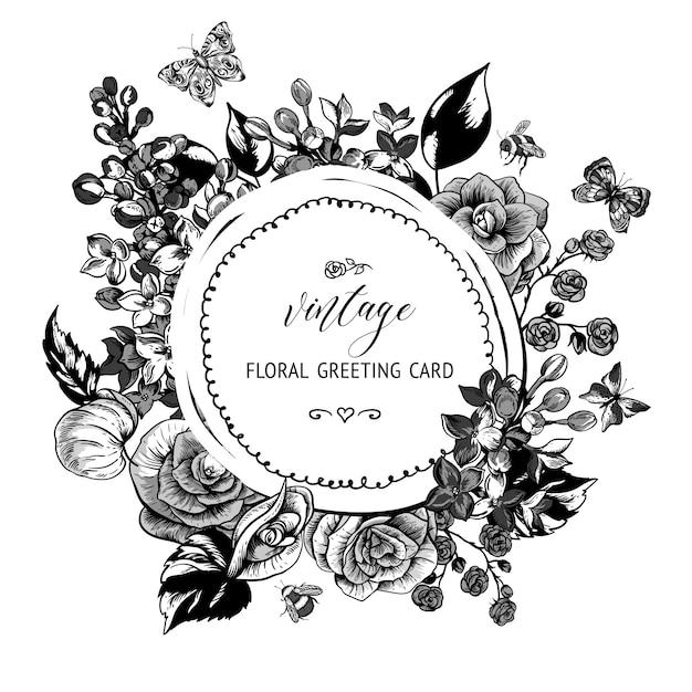 ベゴニア、ライラックの花が咲くとモノクロの春のグリーティングカード Premiumベクター