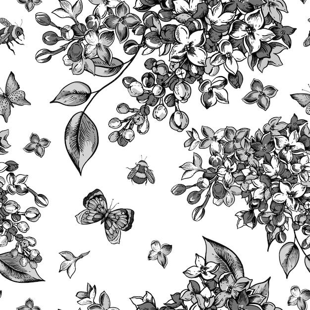 ライラックの花が咲くと白黒のシームレスパターン Premiumベクター