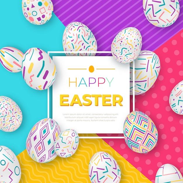 正方形のフレームとモダンな幾何学的な背景にカラフルな華やかな卵のイースターの背景。 Premiumベクター