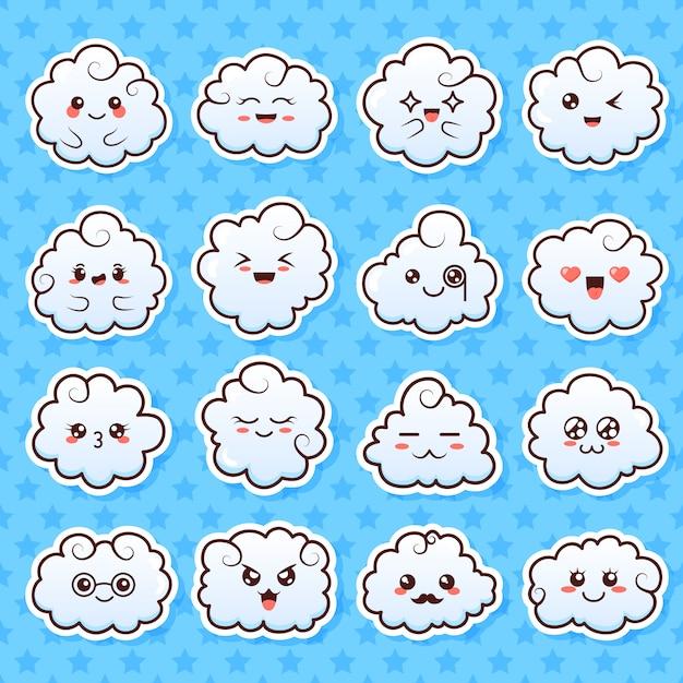 かわいい素敵なかわいい雲のコレクション。マンガスタイルの顔と落書き漫画雲。 Premiumベクター