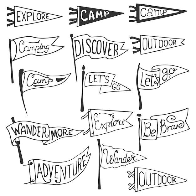 冒険、アウトドア、キャンプペナントのセットです。レトロな白黒ラベル。 Premiumベクター