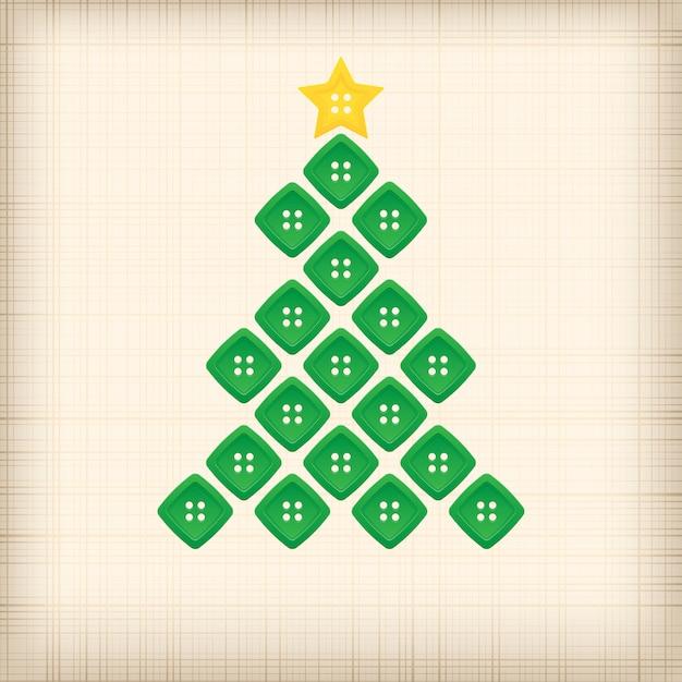 ボタンで作ったクリスマスツリー Premiumベクター
