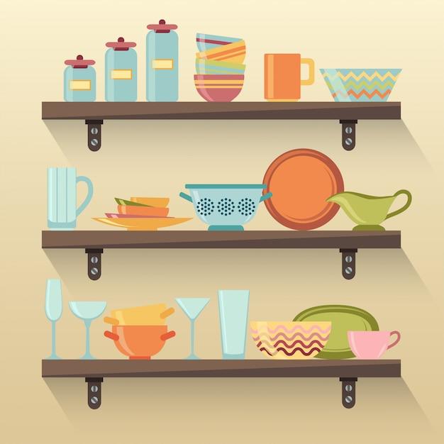 Кухонные полки с красочной посудой Premium векторы