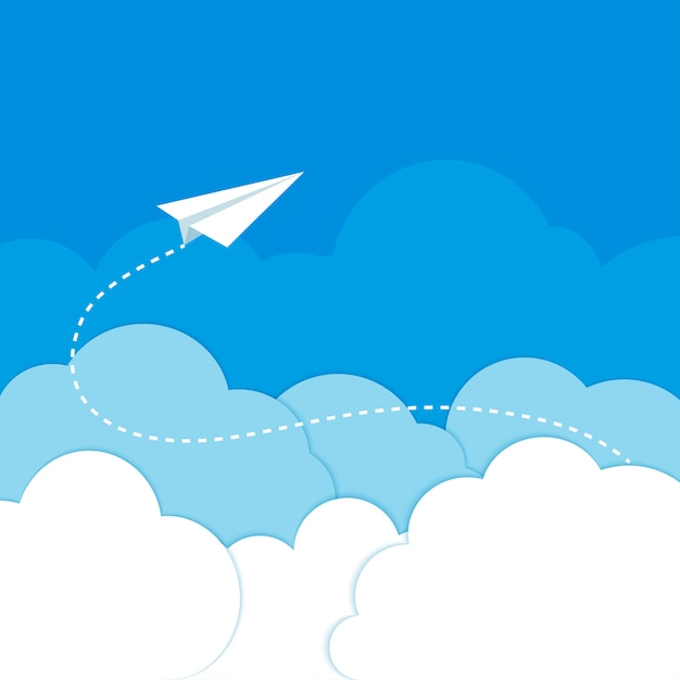 Бумажный самолетик в облаках на синем фоне Premium векторы
