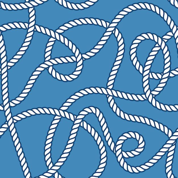 マリンロープと結び目のシームレスパターン Premiumベクター