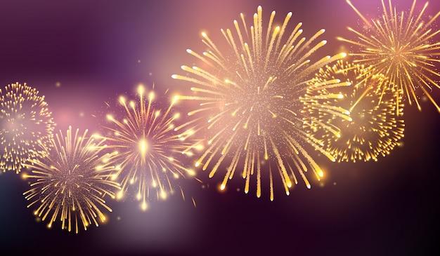 さまざまな形で破裂する花火。夜の花火の爆発。大きな輝く星のボールで破裂する爆竹ロケット Premiumベクター