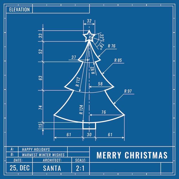 技術的な青写真の描画としてのクリスマスツリー Premiumベクター