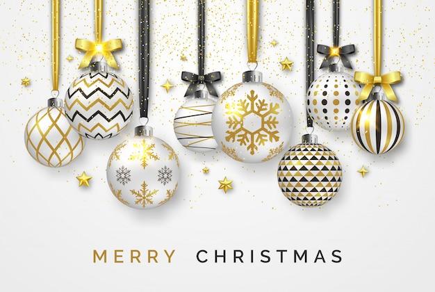 Новогодний фон с блестящими звездами, бантами, конфетти и разноцветными шариками Premium векторы