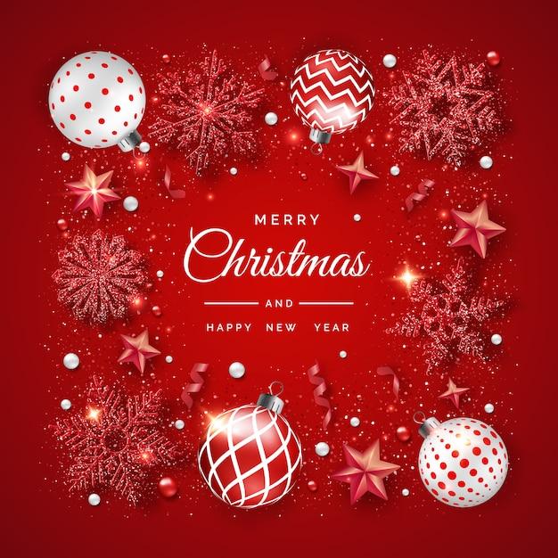 輝く雪、リボン、カラフルなボールとクリスマスの背景 Premiumベクター