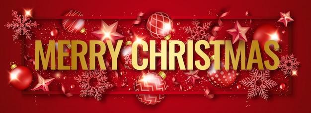 Счастливого рождества горизонтальный баннер с блестящими снежинками, лентами, звездами и красочными шарами Premium векторы