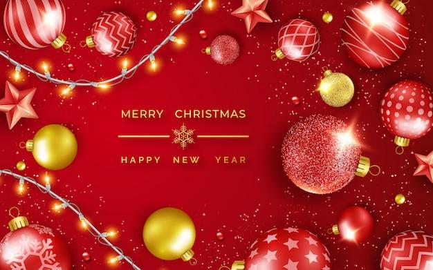 輝く星、紙吹雪、花輪、カラフルなボールとメリークリスマスと幸せな新年のグリーティングカード。 Premiumベクター