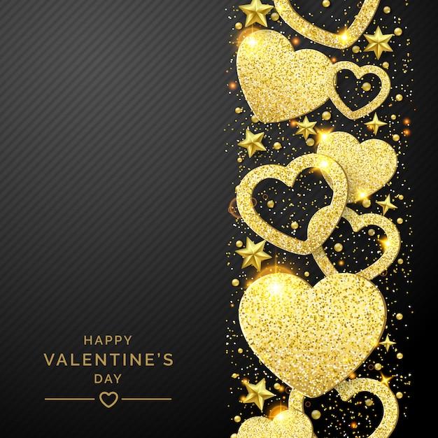 День святого валентина фон с блестящими золотым сердцем и конфетти Premium векторы