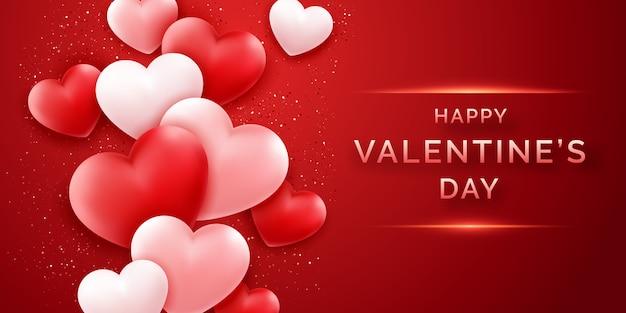 輝くピンクと赤と紙吹雪とバレンタインの日水平バナー Premiumベクター