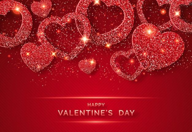 輝く赤いハートと紙吹雪とバレンタインの日水平背景 Premiumベクター