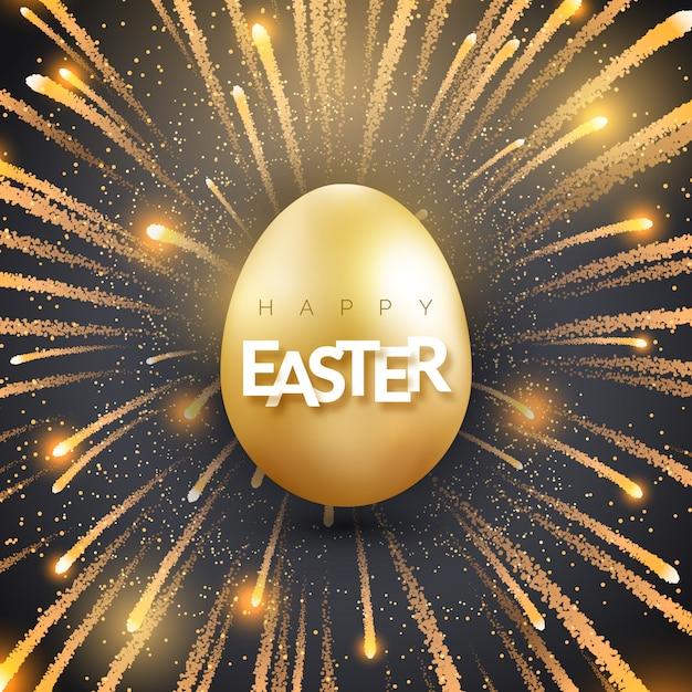 輝く黄金の卵と花火でイースターのグリーティングカード。 Premiumベクター