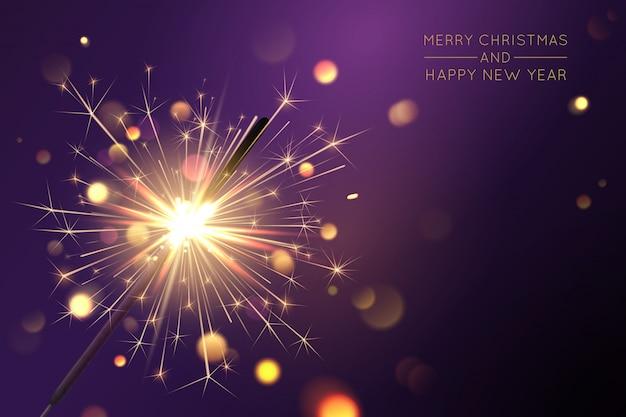 Веселый новогодний фон с бенгальскими и световыми эффектами Premium векторы