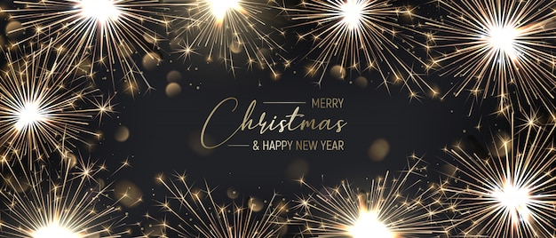 金色の花火でメリークリスマスバナーの背景。 Premiumベクター