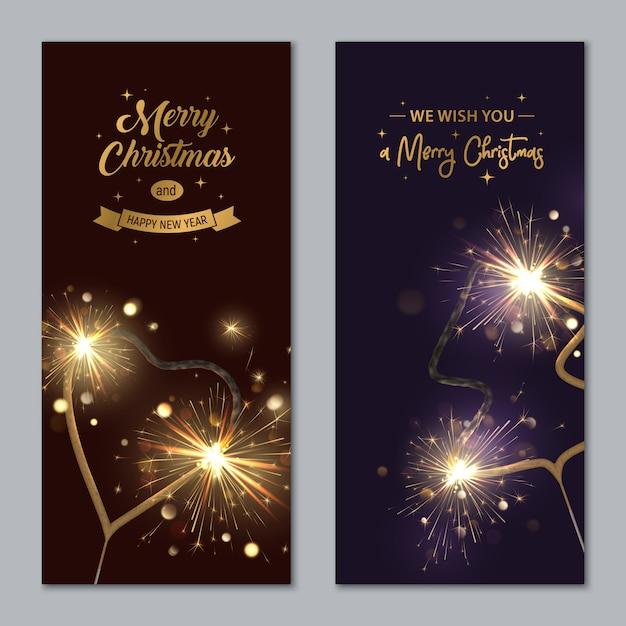 花火とメリークリスマスバナー形の心とモミの木 Premiumベクター