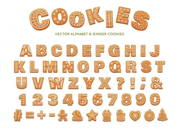 クリスマスのジンジャーブレッドのアルファベット。ベクトルジンジャークッキー Premiumベクター