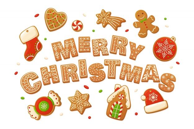 メリークリスマスのベクトルの背景。漫画のジンジャーブレッド Premiumベクター