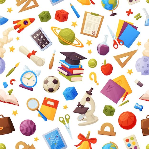 シームレスな学校パターンには、本、グローブ、タブレット、拡大鏡、ボール、アラーム、定規、フラスコ、ノート、キャップ、成績リストが含まれます。 Premiumベクター