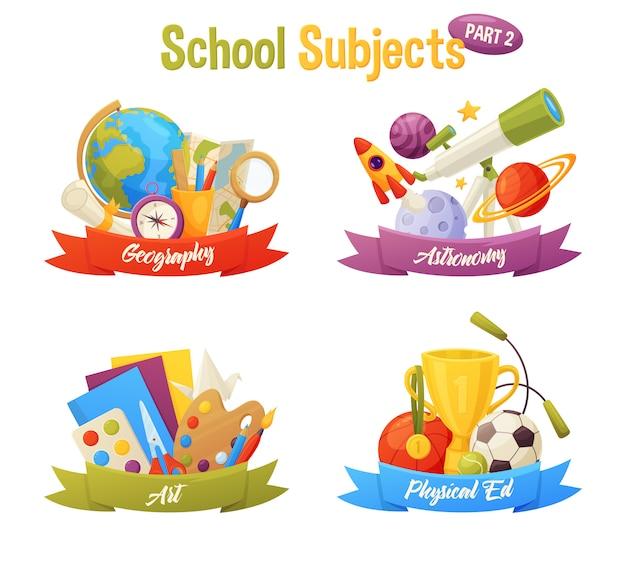 学校の科目セットには、グローブ、地図、コンパス、惑星、ロケット、望遠鏡、紙、塗料、ボール、カップなどのベクトル漫画要素が含まれます。地理、天文学、芸術、体育。 Premiumベクター