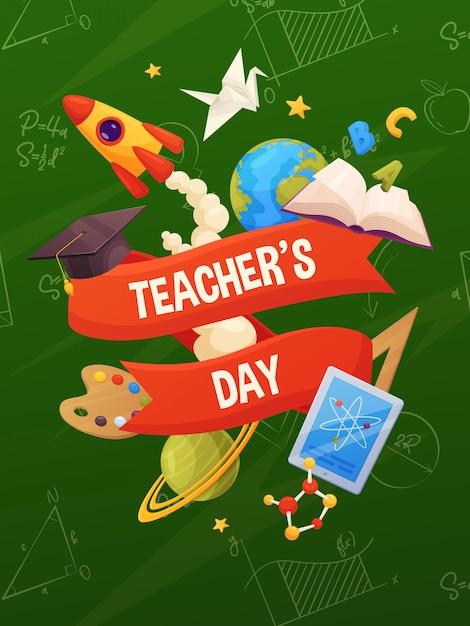 先生の日ベクター。バックボード上の漫画学校要素:本、帽子、惑星、星、塗料、ロケット、タブレット、分子。 Premiumベクター