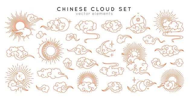 Азиатские облака с луны, солнца и звезд. векторная коллекция в восточном китайском, японском, корейском стиле Premium векторы
