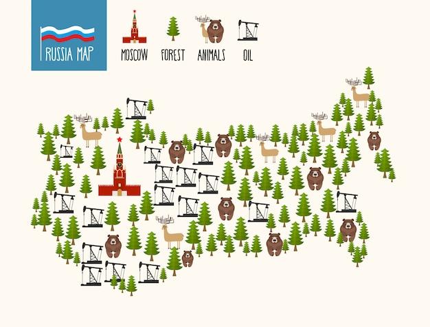 ロシアの地図。ロシア連邦のインフォグラフィック。鉱物油および森林。モスクワのクレムリンと熊。 Premiumベクター