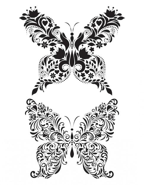 Абстрактные цветочные бабочки на белом фоне Premium векторы