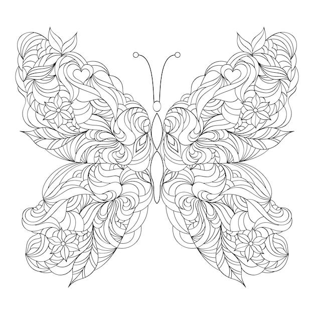 白い背景の上の抽象的な蝶 Premiumベクター