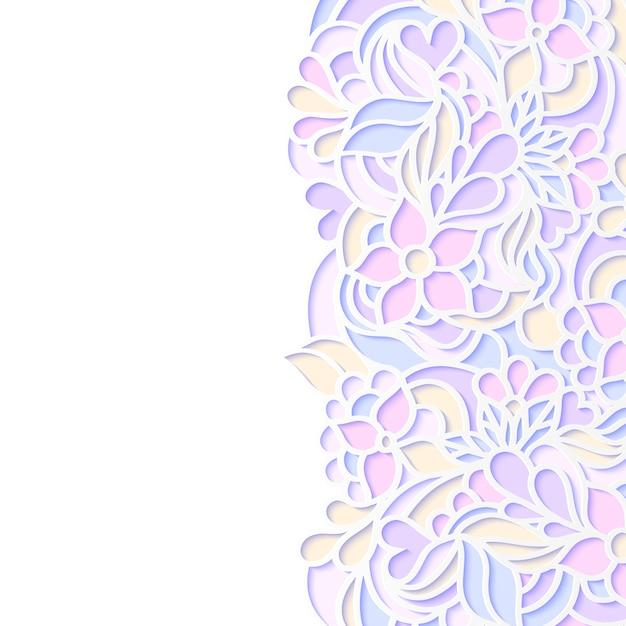 Векторная иллюстрация красочной цветочной каймой Premium векторы