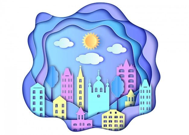 市太陽と紙アートスタイルの雲の建物 Premiumベクター