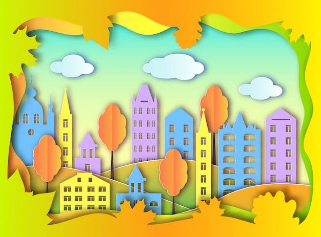 Красочное здание большого города Premium векторы