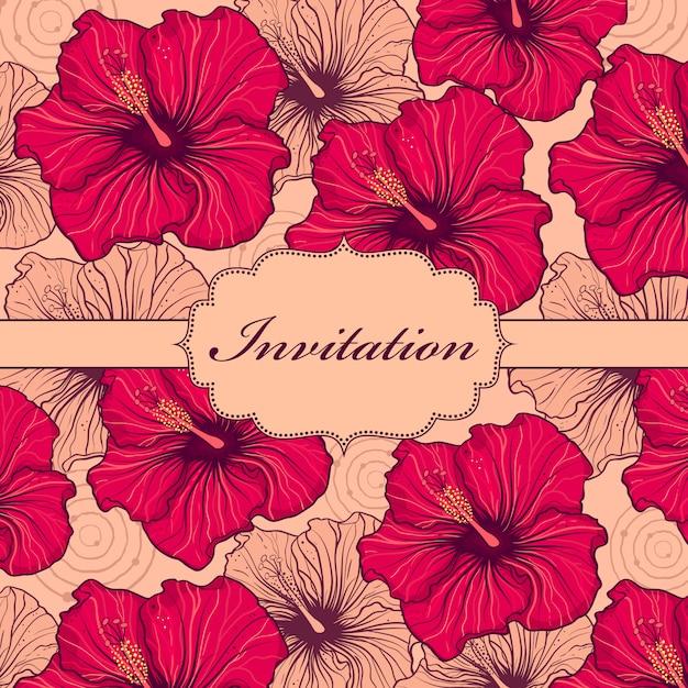 カラフルな手描きの花の招待状のベクトルイラスト Premiumベクター