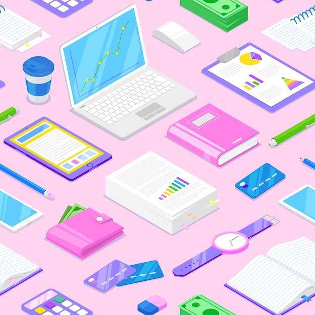実業家アクセサリーとピンクの背景に静止のシームレスパターン Premiumベクター