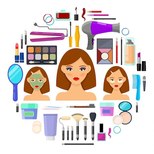 化粧と白い背景の上の美しさのためのカラフルなツール。ベクトル図。 Premiumベクター