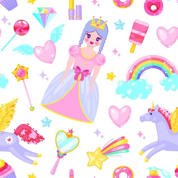 かわいい王女、ユニコーン、雲、心、その他の漫画の要素とのシームレスなパターン。 Premiumベクター