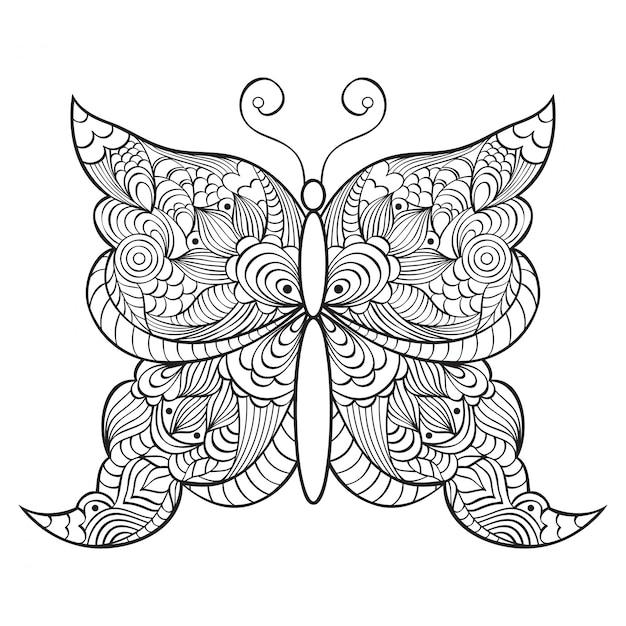 抽象的な落書き蝶 Premiumベクター