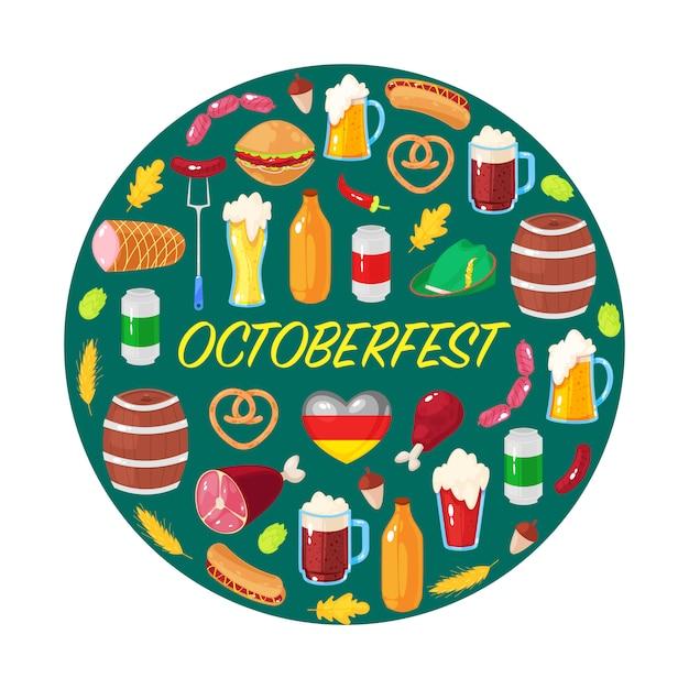 Открытка на октябрьский пивной фестиваль Premium векторы