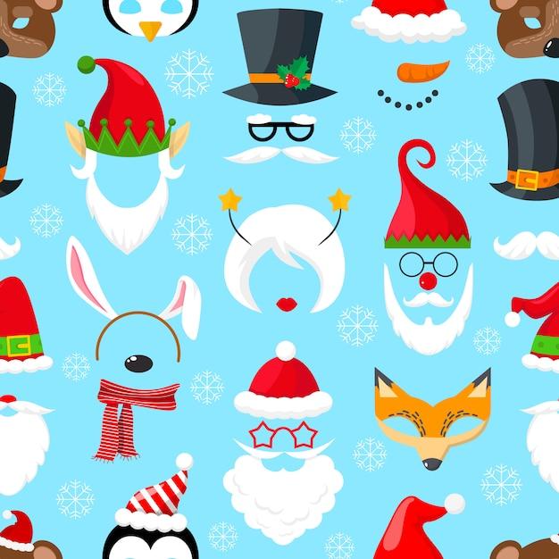 クリスマスマスクのパターン Premiumベクター